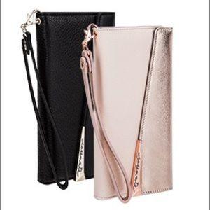 CM Leather Folio Wristlet Wallet Clutch Case